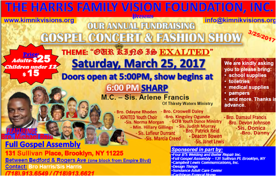 Gospel Concert and Fashion Show, Saturday March 25, 2017